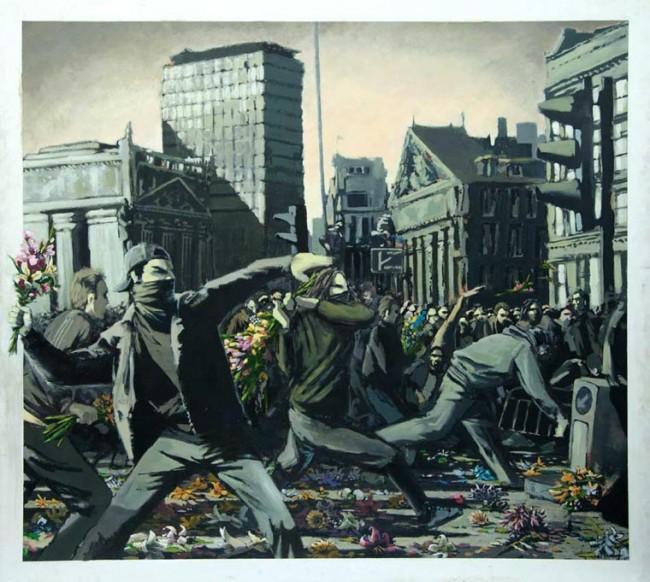 Émeutes fleurs Banksy