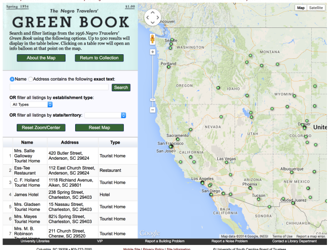 Green book interactive map